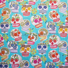 Alexander Henry CALAVERAS SUGAR SKULLS Turquoise Quilt Fabric by YD Day of Dead