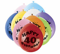 40th Happy Birthday Air filled Balloons 12'' celebrate birthday party-Pack of 6