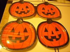 "New ! 4 X 8 ct Spritz Halloween Pumpkin Snack Plate 9 3/4"" X 9 5/8"""