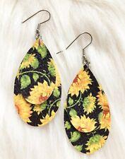 Sunflower On Black Faux Leather Earrings Tear Drop Double Layer