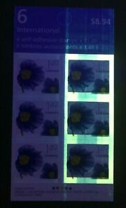 Canada Bk 320 T1, $1.49 Himalayan Blue Poppy, Missing tagging on left column
