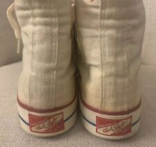 Vintage 1960s Men's Converse Red Label Tag White Sneakers Size 7.5 Made in USA