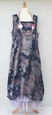 LAGENLOOK LINEN OVERSIZED FLORAL 2 POCKETS DRESS**NAVY** XL-XXL** BUST UP TO 52""