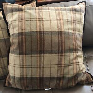 Vintage Ralph Lauren Cotton Euro Size Plaid Decorator Pillows Set of 3