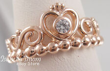 MY PRINCESS TIARA Authentic PANDORA Rose GOLD Plated~ZIRCONIA Ring Sz 6 (52) NEW