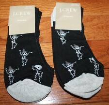 TWO (2) NEW NWT J. Crew Womens No-Show Length Socks Dancing Skeletons *G2