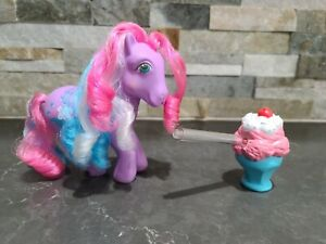 STRAWBERRY SCOOPS VINTAGE Soda Sipping Pony G1 My Little Pony + ice cream RARE