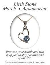 Angelys March Birthstone Aquamarine Heart Pendant Necklace Birthday Xmas Gift