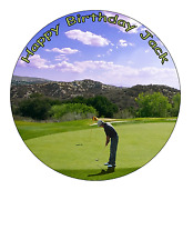 GOLF GOLFING 7.5 PREMIUM Edible RICE CARD Cake Topper CAN PERSONALISED D2