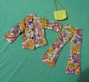 Vintage Barbie Doll Clothes  - MOD Era Barbie CLONE Paisley Print Pants & Top