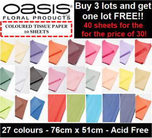 10 SHEETS - LARGE TISSUE PAPER ACID FREE OASIS QUALITY BIO 51x76CM 27 COLOURS