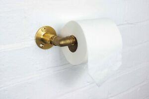 Brass Toilet Roll Holder - Industrial Style Wall Mounted - Vintage, Modern