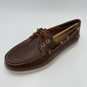 Sperry Top Siders Mens A/O Plush Boat Shoes Dark Tan Size 7.5