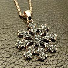Fashion Gold snowflake Crystal Sweater chain Charm necklace Pendants DL627