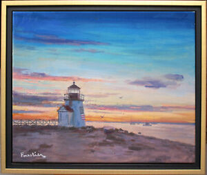 SUNSET IN NANTUCKET~LISTED ARTIST~ORIGINAL OIL PAINTING BY MARC FORESTIER