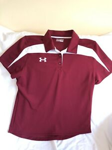 Under Armour Womens XL Burgandy Polo Athletic Shirt