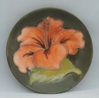 Moorcroft Hibiscus Plate on Green Ground - Potter to the Late Queen Mary