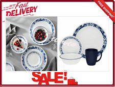 16 Piece Dinnerware Set Classic True Blue Plates Mugs Bowls Service for 4 New