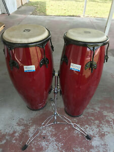"""RHYTHMTECH Eclipse 10"""" and 11"""" Conga drum set RED w/ Stand - Percussion - RT5503"""