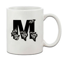 """M "" Butterfly Initial Monogram Personalized Letter M Ceramic Mug Coffe Cup 11"