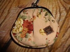 Anna Sui Change Purse Mauve Flower Floral Fabric Print