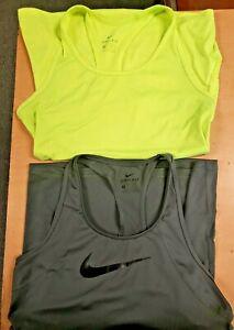 Nike Ladies Dri-Fit Racerback Tanks Gray & Neon Yellow Size XS, Lot of 2