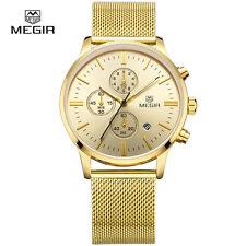 MEGIR 2011 Luxury Brand Chronograph Watch with Golden Mesh Strap For Men