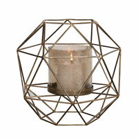 Open Geometric Cage Pillar Candle Holder   Round Metal Gold Copper Bronze Round