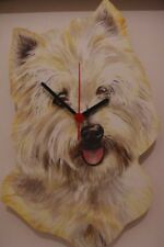 Westie Dog novelty wooden wall clock British made from Lark Rise
