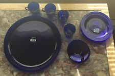 2 New-n-Box Bormioli Rocco Cobalt Blue Dessert Sets~Platters,Dishes,Cups,Saucers