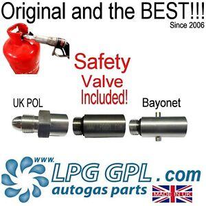Gas bottle adaptor refill at autogas petrol station POL left hand thread calor