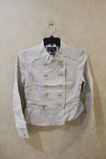 Inc Size XS Linen Military Jacket Double Breasted Peplum Hem Beige _______ R5F3