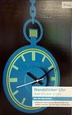 Wandsticker - Uhr Türkis zum Aufkleben Wanduhr mit Quarzwerk Wandtatoo Uhr NEU