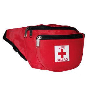 Life Guard Lifeguard First Aid Fanny Pack - Waist Bag w/ Life Guard Logo- RED