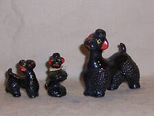 Vintage Poodle Figurines Figures Black Poodles dog Family Mom 2 puppies Japan?