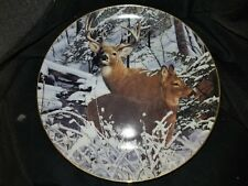 Danbury Mint Plate Snowbound by Bob Travers Whitetail Deer Limited Numbered (B)