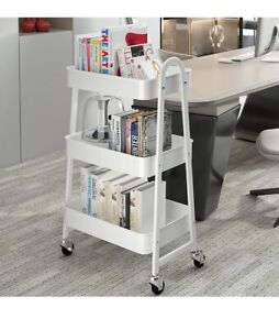 SAYZH 3 Tier Trolley Rolling Utility Cart Metal Utility Service Craft Cart with