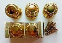 Vtg 5 Solid Brass Knobs Pulls Handles Door Gainsborough Hardware Dresser Cabinet