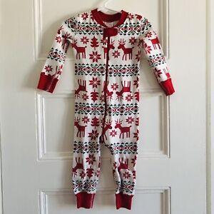 Hanna Andersson Sleeper 85 CM 2T Cotton Pajamas Holiday Christmas Reindeer EUC