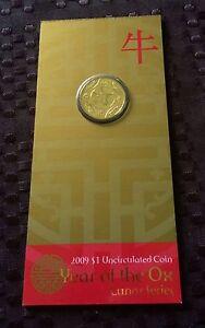 "2009""Lunar Year of ""The Ox"" Australia $1 Dollar UNC Coin on Card"