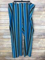 INC Concepts Wide Leg Mid Rise Dress Pant Womens 20W Stretch Bold Stripe Trouser