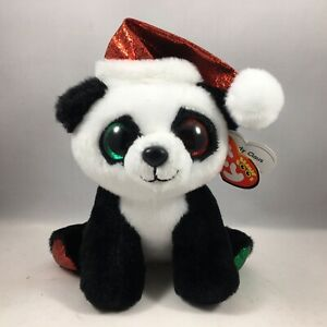 """Ty Beanie Boos PANDY CLAUS the Christmas Panda Bear 6"""" Claire's Exclusive MWMTs"""