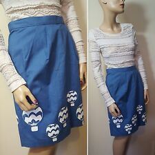 🦄 There's Only One Amy Laws Blue Balloon Skirt Size 10 12 28W Vintage Summer