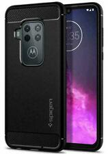 Motorola One Zoom Case, Spigen Rugged Armor Protective Slim Cover - Black