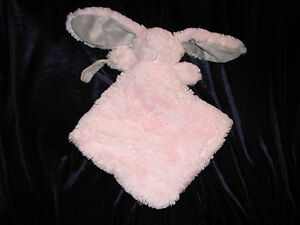 Blankets & Beyond Bunny Security Baby Lovey NuNu Pink Gray Furry Pacifier Strap