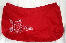 THIRTYONE 31 GIFTS ELITE SKIRT PURSE COVER RED W WHITE FLORAL EMBROIDERY 4 HOOK