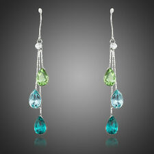 Genuine Austria Crystal Rhinestone Drop Dangle Sparkly Shiny Blue Green Earrings