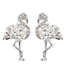 Elegant Fashionable Full of Crystal Rhinestones Flamingo Bird Stud Earrings Lady