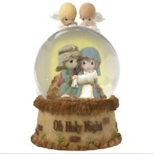 """Precious Moments """"Oh Holy Night"""" Musical Resin/Glass Snow Globe. New."""