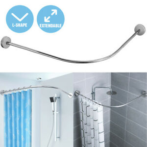 Extendable L Shape Shower Curtain Rod Rail Bathtub Stainless Steel Punch-free